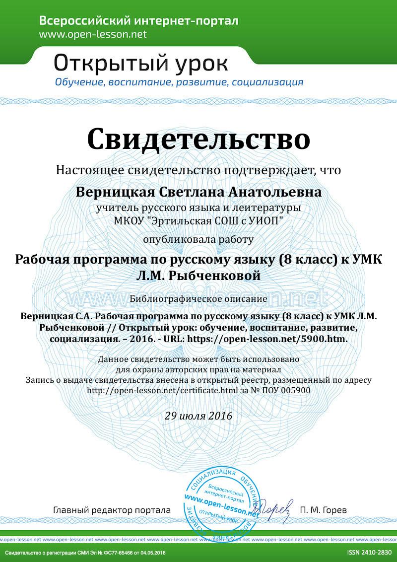 Тематическое планирование по русскому языку 8 класс 4 часа в неделю тростенцова